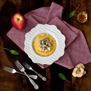 Creamy Polenta with Sautéed Apples, Mushrooms & Calvados