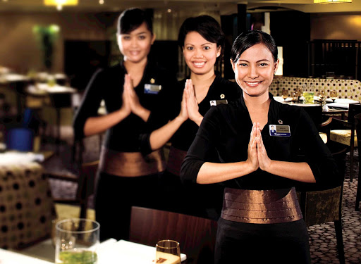 Head to Tamarind about Holland America's Eurodam for food evoking the rich culinary traditions of Southeast Asian, China and Japan, served by attentive crew members.