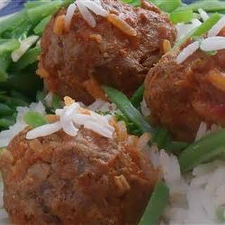 Slow Cooker Porcupine Meatballs with Peppers.