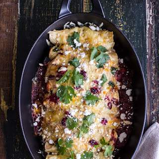 Brown Sugar Roasted Chicken Enchiladas w/Fire Roasted Tomatillo-Cranberry Sauce.