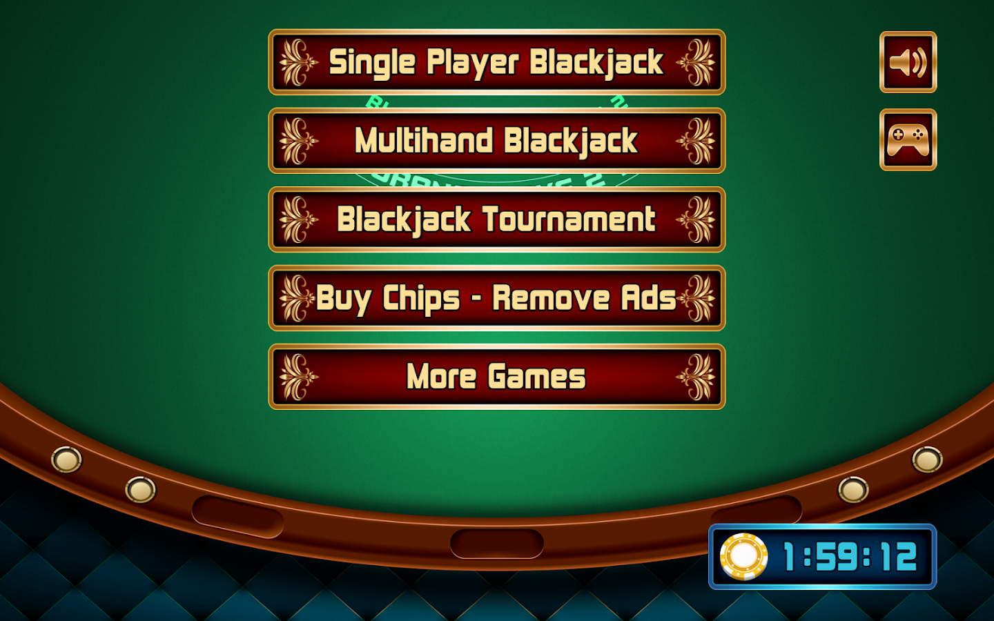 Blackjack table top view - Blackjack Screenshot