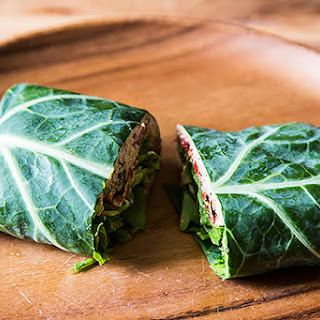 Collard Wraps with Herbed Cashew Spread and Roast Peppers.