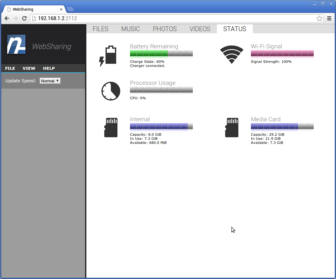 WebSharing (WiFi File Manager)- screenshot