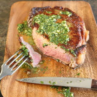 Rib-Eye Steaks with Chimichurri.