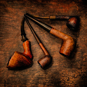 Puff by Mike Ritchie - Artistic Objects Other Objects ( light paint, wood, bown, tobacco, white, antique, pipe, black )