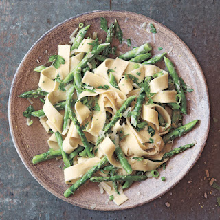 Pappardelle with Asparagus and Cream.
