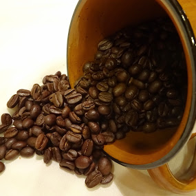 Spill the beans! by Judy Dean - Food & Drink Ingredients ( mug, brew, beans, coffee, cafe, spill,  )