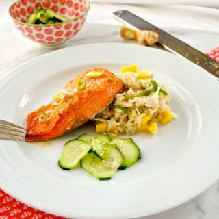Miso Orange Salmon with Coconut Mango Rice and Pickled Cucumbers.