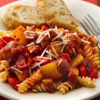 Slow-Cooker Italian Sausages and Peppers with Rotini.