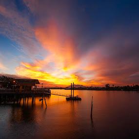 Sunset  by Ismail Rali - Landscapes Sunsets & Sunrises ( waterscape, sunset, sunrise, landscape, river )