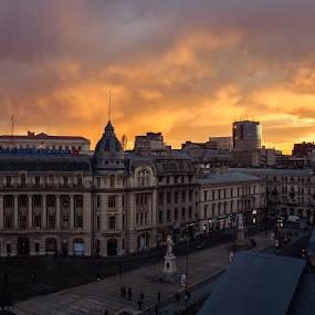 Cityline  storm clouds by Matei Edu - City,  Street & Park  Skylines ( cityscapes, bucharest, twilight, skylines, romania, storm,  )