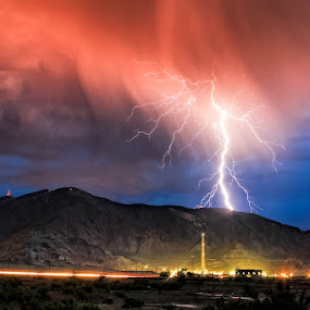 Kennecott copper and Lightning by Scott Stringham - Landscapes Weather ( photograph, bolt, lake bonneville, stringham, our great salt lake, look at me, lake-effect, mud, buy me a beer, nature, rld, electrical storm, pacific flyway, weather, storm tracking, my other home, thunder, great salt lake, lightning strike, rustling leaf design, lake, gsl, miles, convection, endorheic, www.rustlingleafdesign.com, great salt lake wonders, lightning, islands, severe weather, get out side, salt, great basin, canon, graphic, america's dead sea, landscape, salinity, escape, photography, island, dslr, strike, shoreline, kennecott copper and lightning, thunder storm, passion, clouds, water, scott stringham, sand, lightning storm, inland sea, desert, thunderstorm, camera, kennecott utah, photo, dreams of a great salt lake, hello, evaporation, electrical, kennecott, utah, blue, better everyday, outdoor, cumulonimbus, boom, earth, rustlingleafdesign, its big enough for all )