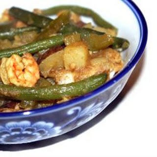 Trinidad-Style Curried Potatoes (Aloo) with Green Beans and Shrimp.
