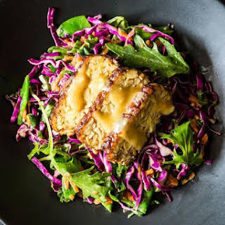 Snow Pea, Cabbage, and Mizuna Salad with Marinated and Seared Tempeh.