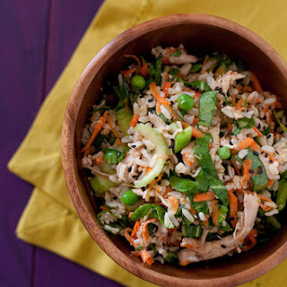 Bok Choy Brown Rice Salad with Orange Sesame Dressing.