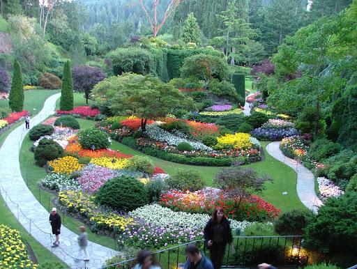Sunken garden in Butchart Gardens, Victoria, British Columbia.