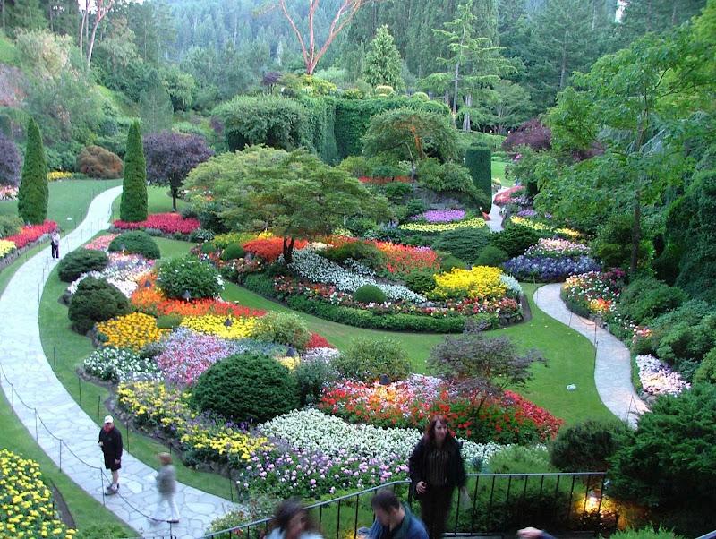 Sunken garden in Butchart Gardens, Victoria, B.C., part of many Alaska itineraries.