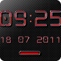 NEON RED Digital Clock Widget