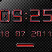 NEON RED Digital Clock Widget