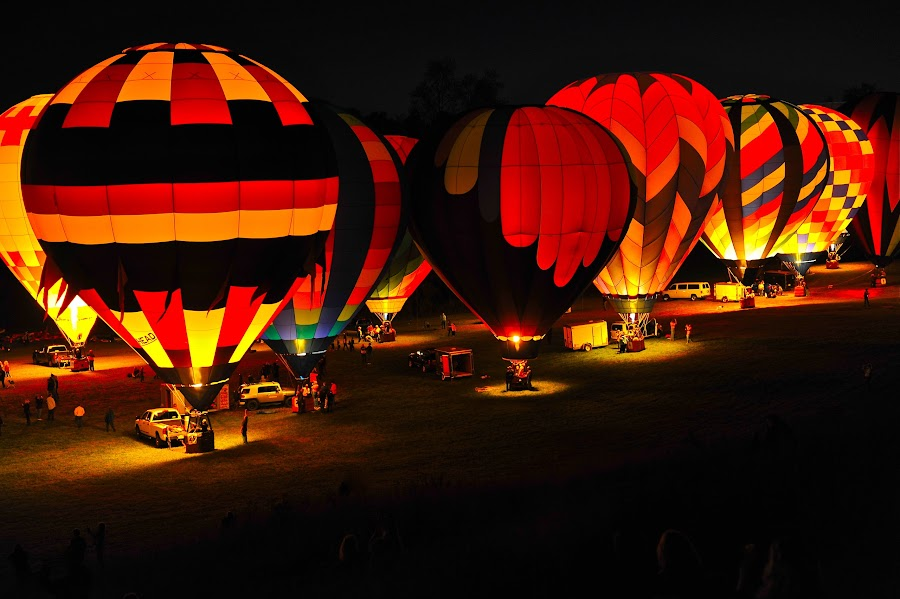 Light Up The Night by Roy Walter - Transportation Other ( balloon glow, night, transportation, hot air balloons, balloons )