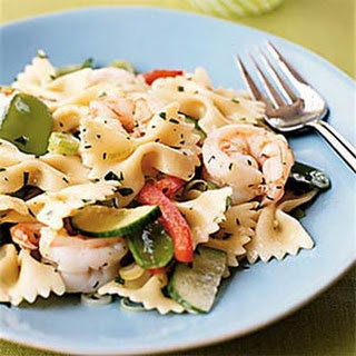 Farfalle with Shrimp, Snow Peas, and Ginger-Sesame Dressing.