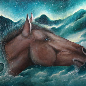 Aqua Borealis by Alicia McNally - Painting All Painting ( water, clouds, reflection, blue, horse, surreal, horse art, emotion )