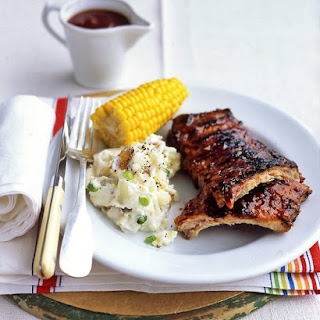 Pork Ribs With Barbecue Sauce.