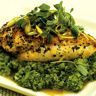 Saffron Chicken Breasts with English Pea Purée, Pea Shoots, and Mint.