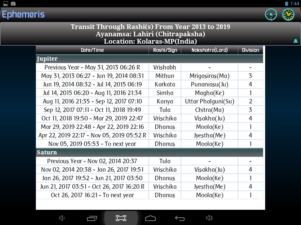 Ephemeris astrology software screenshot