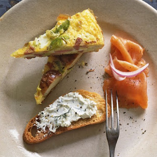 Smoked Salmon with Herbed Goat Cheese and Toast.