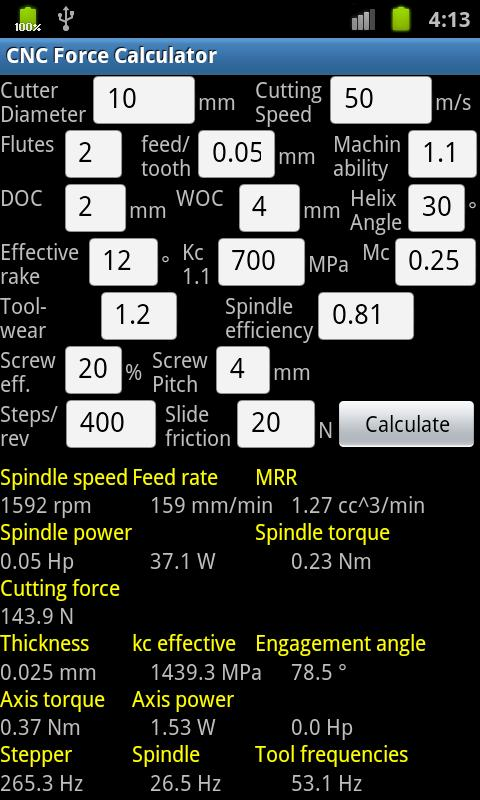 CNC Force Calculator - screenshot