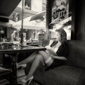 Vices by Andrei Grososiu - People Portraits of Women ( cigar, lingerie, caffee, woman, pub )