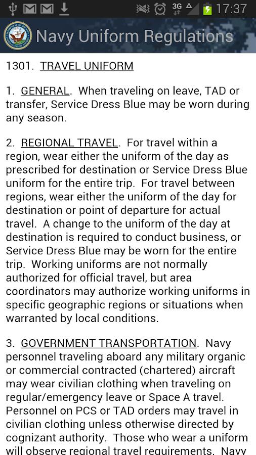 Navy Uniform Regulations - screenshot