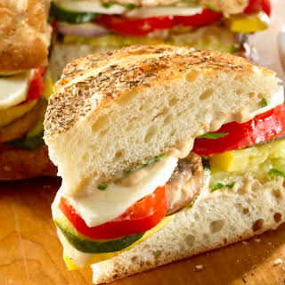 Balsamic Basil Roasted Vegetable Sandwich.