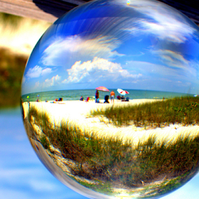 The Beach by Elfie Back - Artistic Objects Glass ( orb, glass, sphere, beach,  )