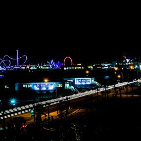 Pleasure Pier at Night by Raymond Umlas - City,  Street & Park  Night ( galveston, nightscape )