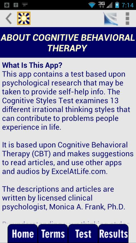 Cognitive Styles CBT Test- screenshot