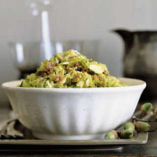 Shredded Brussels Sprouts with Maple Hickory Nuts.