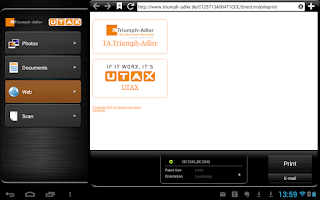 Screenshot of TA/UTAX Mobile Print