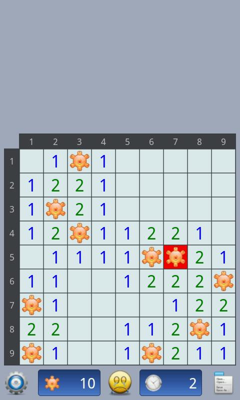 Minesweeper game- screenshot