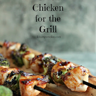 Chicken, Garlic and Broccoli Kebabs.