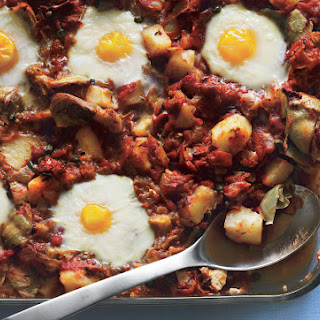 Eggs in Purgatory with Artichoke Hearts, Potatoes, and Capers.