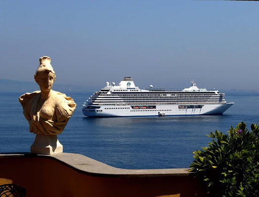 Crystal-Serenity-Sorrento-Italy - Crystal Serenity cruises through Sorrento in southern Italy.