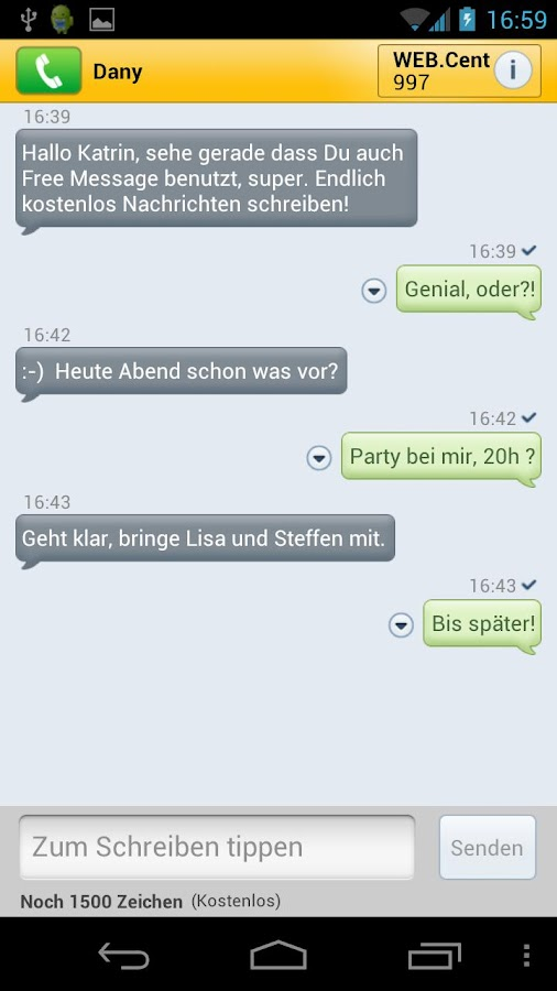 WEB.DE SMS mit Free Message - screenshot