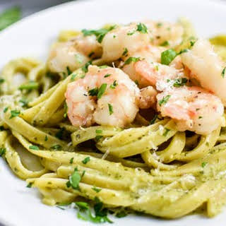 Creamy Pesto Pasta with Garlic Butter Shrimp.