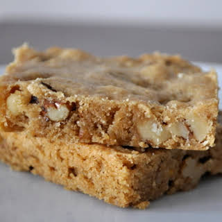 Bourbon Blondies with Walnuts.