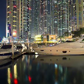 Marina by Ashraf Ahmed Habib - Buildings & Architecture Other Exteriors ( lights, water, reflection, building, towers, dubai, yacht, marina, architecture )