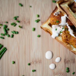 Chicken n Waffles with a Spicy Sweet Sriracha Maple Sauce