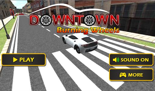 市区燃烧车轮