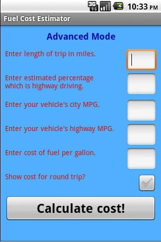 Fuel Cost Estimator - screenshot